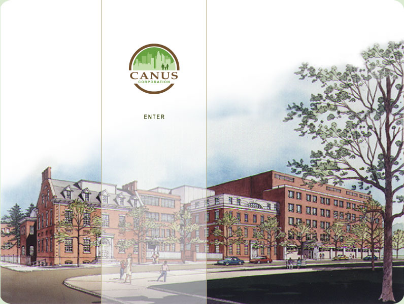 Canus Corporation Logo and Building. Canus Corporation: urban redevelopment specialists in: historic preservation, community revitalization, affordable housing, senior housing. Projects include: Pinewood Estates, Greenfield Commons, The Archview in Manayunk, and numerous properties in Northern Liberties.